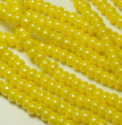 Yellow Opaque Lustre Czech 6/0 Seed Bead on Loose Strung 6 String Hank Approx 900 Beads