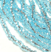 Light Aqua Silver Lined Czech 6/0 Seed Bead on Loose Strung 6 String Hank Approx 900 Beads