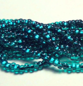 Dark Aqua Silver Lined Czech 6/0 Seed Bead on Loose Strung 6 String Hank Approx 900 Beads