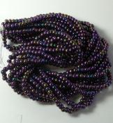 Iris Purple Czech 6/0 Seed Bead on Loose Strung 6 String Hank Approx 900 Beads
