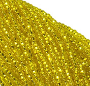 Yellow Silver Lined Czech 6/0 Seed Bead on Loose Strung 6 String Hank Approx 900 Beads