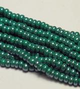 Dark Green Opaque Lustre Czech 6/0 Seed Bead on Loose Strung 6 String Hank Approx 900 Beads