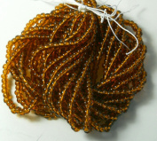 Medium Topaz Transparent Czech 6/0 Seed Bead on Loose Strung 6 String Hank Approx 900 Beads