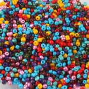 Mixed Glass Tube Seed Beads in bulk 3000pcs 2mm 7 Colours