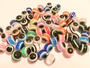 50 Evil Eye Round Acrylic Mixed Lot Assorted Colours 10mm
