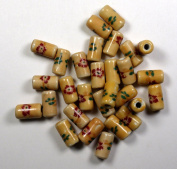 Porcelain Tube Beads in Ecru with Screened Floral Design
