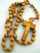 Mens Womens Light Brown Wood 8MM Oval Bead Corded Daily Prayer Rosary Necklace