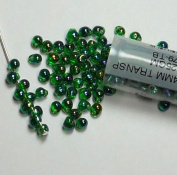 Green Ab Rainbow Transparent Miyuki 3.4mm Fringe Seed Bead Glass Tear Drops 25 Gramme Tube Approx 650 Beads