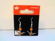 TEXAS LONGHORNS Logo NCAA Sophie Flower Bead Silver Dangle Earrings NEW