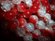 junesgems juicy bubbles crackled red crystal round glass beads