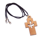 Large Cross with Dove Cross - olive wood necklace