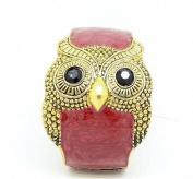 Vintage Bohemia Wide Owl Drip Crystal Decorated Woman Bracelet Bangle Wristband(Red) By U-Beauty