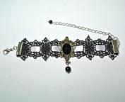 Black Gothic Goth Lolita Vampire Faux Pearl Ribbons Lace Bracelet Wristlet