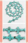 1 Strand Cross Natural Turquoise Loose Beads 12x16mm D0386