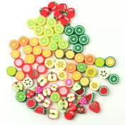 AllCraft 100 x Wholesale Mixed Colour FIMO Polymer Clay Fruits Charm Spacer Beads