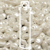 White Lustre 2.5x5mm 1 ONE Hole Fringe Beads Czech Glass Seed Beads 20 Gramme Tube