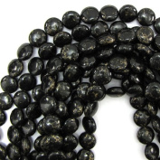 """6x12mm black gold pyrite turquoise coin beads 16"""" strand"""