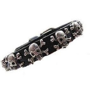 Black Leather Silver Skull Biker Punk Rock Bracelet Buckle Clasp