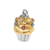 Silver 22K Gold Plated Two Tone Cupcake Charm Adorned With. ELEMENTS Crystal