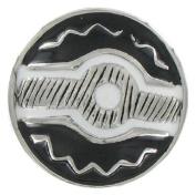 Eligo Jewellery 30mm Silver Plated Enamel Ornament Black Chunks for Eligo 30mm Chunk Bracelets