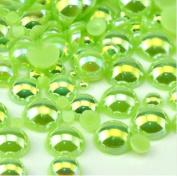 LOVEKITTY TM 600 Pcs AB Light Green Mixed Sizes Flatback Pearl Cabochon
