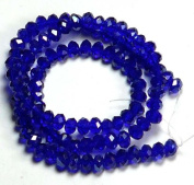 6x4mm Cobalt Blue Lustre Crystal Glass Faceted Fluted Machine Cut Rondelle Beads. Approx 100 Piece 16 Inches of Beads