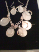Avon Genuine Mother of Pearl Teardrop Necklace and Earring Gift Set