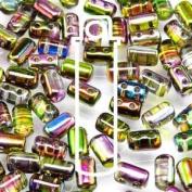Magic Violet Green 3x5mm Rulla Glass Beads