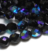 150 Czech 8mm Jet Black AB Faceted Round Firepolished Glass Beads 1/8 Mass Fire Polished