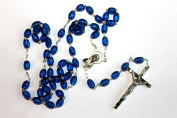Rosarybeads4u Oval Dark Blue Worry Rosary Beads Rosaries Silver Coloured Metal Crucifix