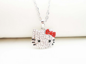 SILVER CRYSTAL SMALL HELLO KITTY RED BOW NECKLACE