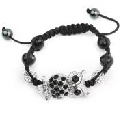 Metal Rhinestone Owl Beads Black Rope Braided Woven Adjustable Bracelet Bangle
