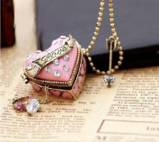 2013 New Coming Designer Jewellery Pink Box Heart Openable Rhinestone Pendent Necklace