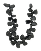 Tennessee Crafts 1566 Glass Black Glass Tear Drop Nuggets Beads, Black, 20cm