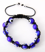 Evil Eye Blue Hamsa Bead Shamballa Style Inspired Bracelet 7.4mm