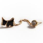 1x Dog Twin Stud Earrings with Rhinestone - Gold