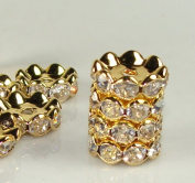 12mm Rhinestone Disc Beads Gold Round Edge 20pcs