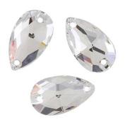 . Sew On FlatBack PEAR Crystal CLEAR 18x10.5mm