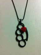 Knuckle Style Black Brass with Red Rose Punk Necklace