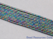 """Hematite Beads Coating Multi Colour Disco Spacer 1x2mm Approx 400pcs 16"""" Strand"""