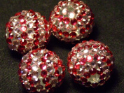 Red Striped Disco Ball Beads - assorted lot of 10