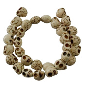 Skull Gemstone Beads Strand, Synthetic Howlite, Dyed White