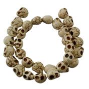 Skull Gemstone Beads Strand, Synthetic Howlite, Dyed White