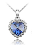 Sliver Plated Crystal Lovely Bling Blue heart Necklace / Chain--(With Cutely Gift Box)-----. From USA--takes 2-6 working days with shelley.kz INC-------