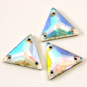 . 3270 Sew On FlatBack TRIANGLE Crystal AB 16mm by 4pcs