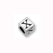 Charm Factory Pewter 7mm Alphabet Letter X Bead