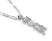 Hip-Hop Iced Silver Tone F#ck Pendant Necklace Free 60cm chain