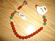 1928 rust & green bead necklace - 43cm