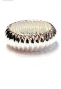 New Ridged Classic Silver Tone Hinged Bangle Cuff Bracelet