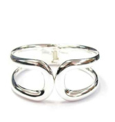 New Sleek Silver Tone Cut Out Fashion Bangle Cuff